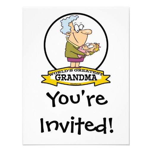 WORLDS GREATEST GRANDMA WOMEN CARTOON CUSTOM INVITATION