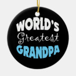 Worlds Greatest Grandpa Double-Sided Ceramic Round Christmas Ornament