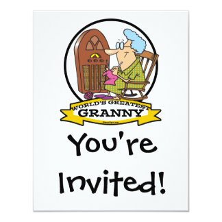 WORLDS GREATEST GRANNY CARTOON 11 CM X 14 CM INVITATION CARD