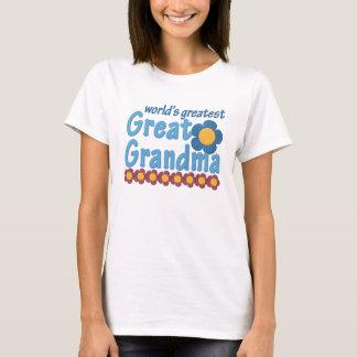 World's Greatest Great Grandma Fabric Flowers T-Shirt