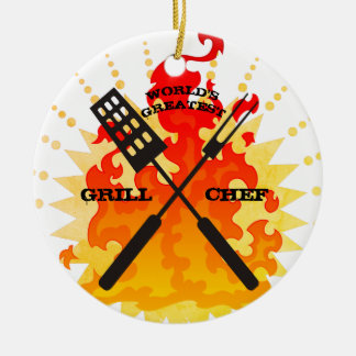 Worlds greatest grill chef Christmas ornament