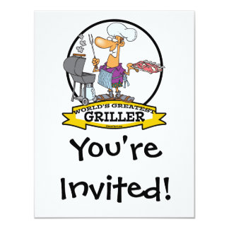 WORLDS GREATEST GRILLER MEN CARTOON 11 CM X 14 CM INVITATION CARD