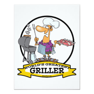 WORLDS GREATEST GRILLER MEN CARTOON 11 CM X 14 CM INVITATION CARD