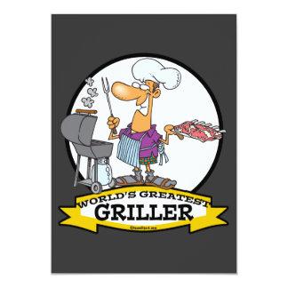 WORLDS GREATEST GRILLER MEN CARTOON 13 CM X 18 CM INVITATION CARD