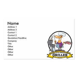 WORLDS GREATEST GRILLER MEN CARTOON BUSINESS CARD TEMPLATES