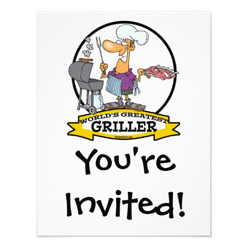WORLDS GREATEST GRILLER MEN CARTOON PERSONALIZED INVITATIONS
