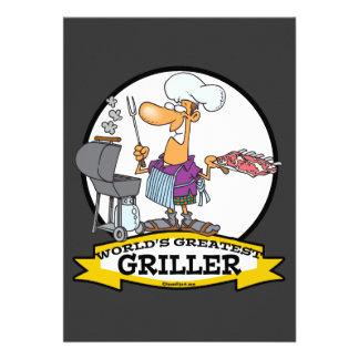 WORLDS GREATEST GRILLER MEN CARTOON CUSTOM INVITATION