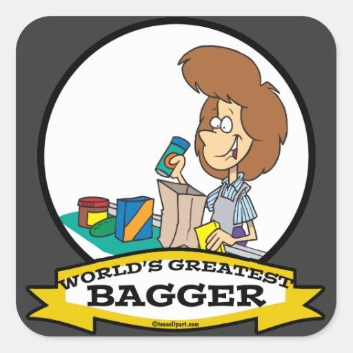 WORLDS GREATEST GROCERY BAGGER WOMEN CARTOON SQUARE STICKER