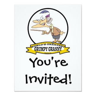 WORLDS GREATEST GRUMPY GRANNY CARTOON 11 CM X 14 CM INVITATION CARD