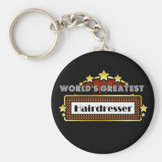World's Greatest Hairdresser Basic Round Button Key Ring