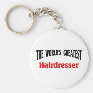 World's Greatest Hairdresser Basic Round Button Key Ring