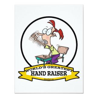 WORLDS GREATEST HAND RAISER CARTOON 11 CM X 14 CM INVITATION CARD