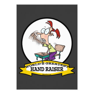 WORLDS GREATEST HAND RAISER CARTOON PERSONALIZED ANNOUNCEMENTS