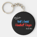 World's Greatest Handbell Ringer Basic Round Button Key Ring