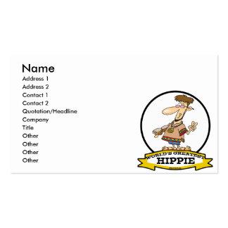 WORLDS GREATEST HIPPIE MEN CARTOON BUSINESS CARDS