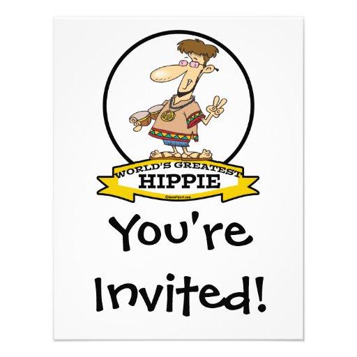 WORLDS GREATEST HIPPIE MEN CARTOON PERSONALIZED INVITES
