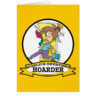 WORLDS GREATEST HOARDER WOMEN CARTOON CARD