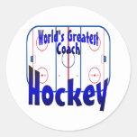 World's Greatest Hockey Coach Round Sticker