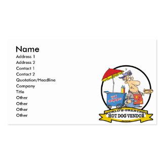 WORLDS GREATEST HOT DOG VENDOR MEN CARTOON BUSINESS CARD TEMPLATES