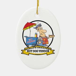 WORLDS GREATEST HOT DOG VENDOR MEN CARTOON CHRISTMAS ORNAMENT