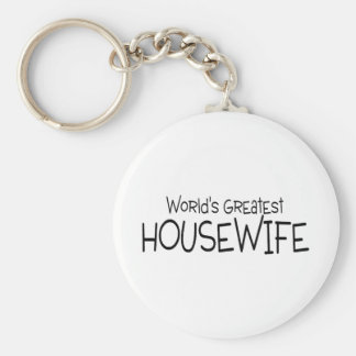 Worlds Greatest Housewife Basic Round Button Key Ring