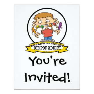 WORLDS GREATEST ICE POP ADDICT CARTOON PERSONALIZED ANNOUNCEMENTS