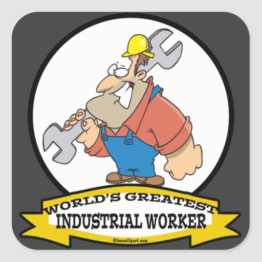 WORLDS GREATEST INDUSTRIAL WORKER MEN CARTOON STICKERS