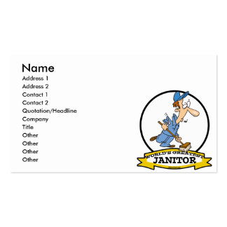 WORLDS GREATEST JANITOR CARTOON BUSINESS CARD TEMPLATE