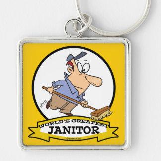 WORLDS GREATEST JANITOR II CARTOON KEY RING