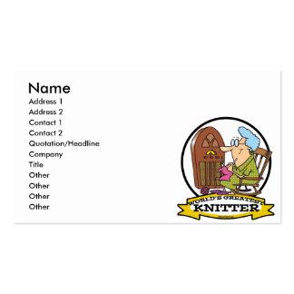 WORLDS GREATEST KNITTER CARTOON BUSINESS CARD