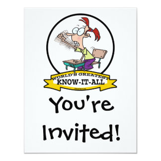WORLDS GREATEST KNOW IT ALL KID CARTOON 11 CM X 14 CM INVITATION CARD