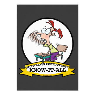 WORLDS GREATEST KNOW IT ALL KID CARTOON PERSONALIZED ANNOUNCEMENT