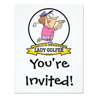 WORLDS GREATEST LADY GOLFER CARTOON 11 CM X 14 CM INVITATION CARD