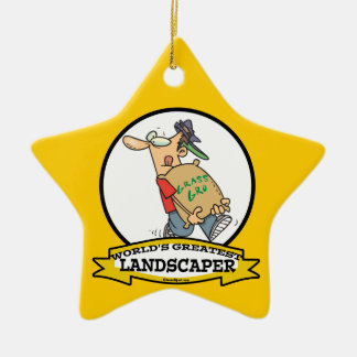 WORLDS GREATEST LANDSCAPER MEN CARTOON CHRISTMAS ORNAMENT