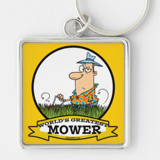 WORLDS GREATEST LAWN MOWER MEN CARTOON Silver-Colored SQUARE KEY RING