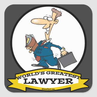 WORLDS GREATEST LAWYER II MEN CARTOON SQUARE STICKER