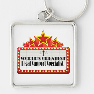 World's Greatest Legal Support Specialist Silver-Colored Square Key Ring