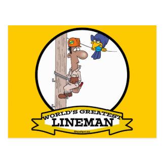 WORLDS GREATEST LINEMAN MEN CARTOON POSTCARD