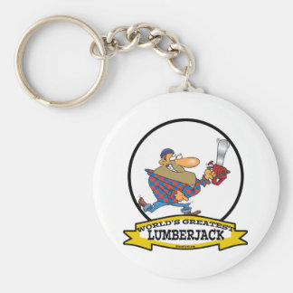 WORLDS GREATEST LUMBERJACK MEN CARTOON BASIC ROUND BUTTON KEY RING
