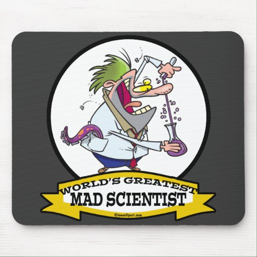 WORLDS GREATEST MAD SCIENTIST MEN CARTOON MOUSE PAD