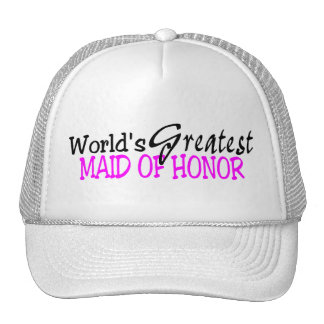 Worlds Greatest Maid Of Honor Pink Black Hats