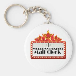 World's Greatest Mail Clerk Basic Round Button Key Ring