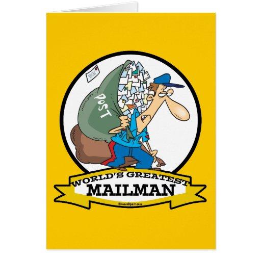 WORLDS GREATEST MAILMAN MEN CARTOON GREETING CARD