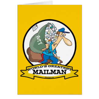 WORLDS GREATEST MAILMAN MEN CARTOON GREETING CARD