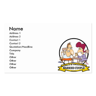 WORLDS GREATEST MARRIED COUPLE SARCASM CARTOON PACK OF STANDARD BUSINESS CARDS