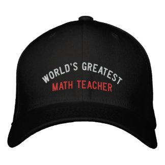 WORLD'S GREATEST, MATH TEACHER EMBROIDERED CAP