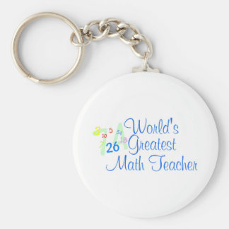 Worlds Greatest Math Teacher Numbers Basic Round Button Key Ring