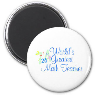 Worlds Greatest Math Teacher Numbers 6 Cm Round Magnet