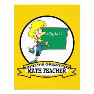WORLDS GREATEST MATH TEACHER WOMEN CARTOON CUSTOM FLYER