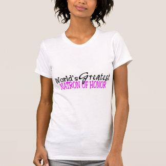Worlds Greatest Matron Of Honor Pink Black T-Shirt
